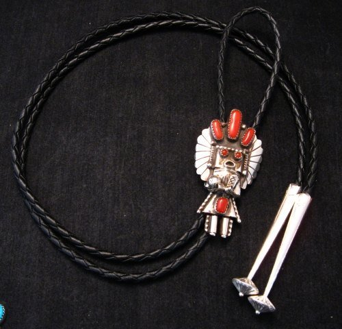 Image 2 of Navajo Native American Jewelry Coral Silver Kachina Bolo, Doris Smallcanyon