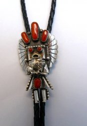Navajo Native American Jewelry Coral Silver Kachina Bolo, Doris Smallcanyon
