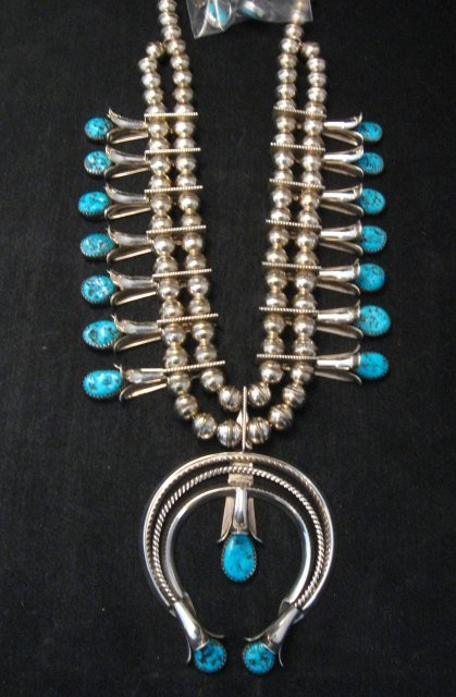 Image 0 of Navajo Native American Turquoise Squash Blossom Necklace Set, Doris Smallcanyon