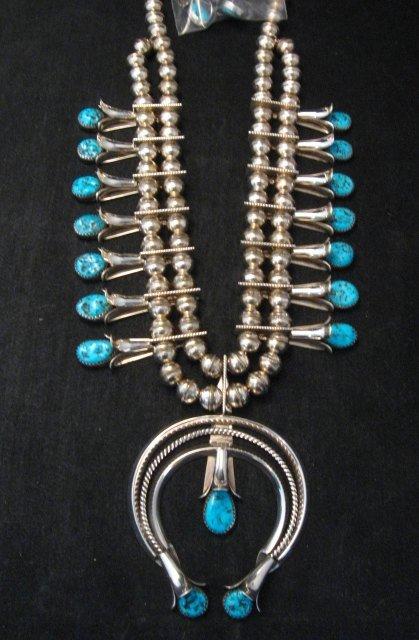 Image 0 of Navajo Native American Turquoise Squash Blossom Necklace Set, Doris Smallcanyon