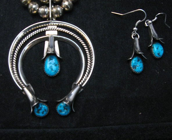 Image 2 of Navajo Native American Turquoise Squash Blossom Necklace Set, Doris Smallcanyon