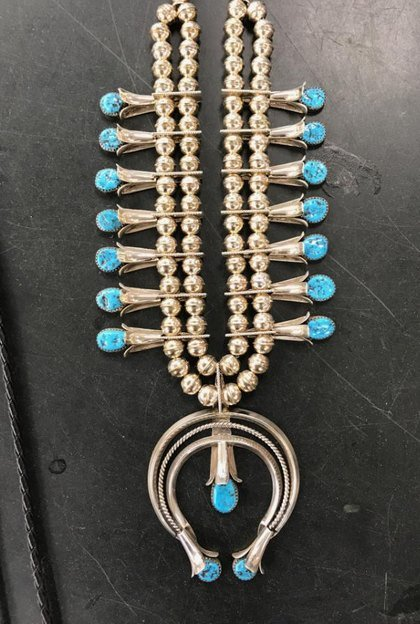 Image 6 of Navajo Native American Turquoise Squash Blossom Necklace Set, Doris Smallcanyon