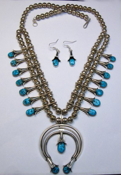 Image 1 of Navajo Native American Turquoise Squash Blossom Necklace Set, Doris Smallcanyon