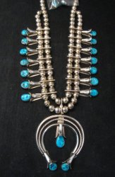 Navajo Native American Turquoise Squash Blossom Necklace Set, Doris Smallcanyon