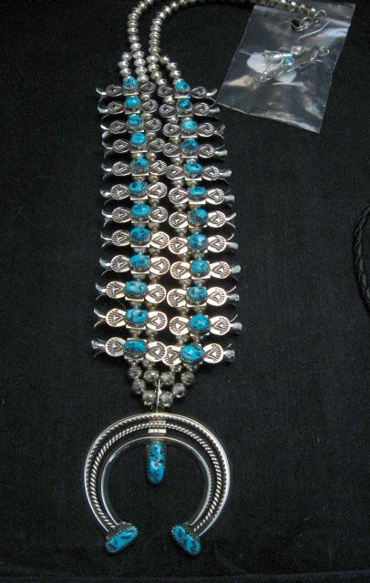 Image 0 of Navajo Doris Smallcanyon Box Bow Squash Blossom Silver Turquoise Native American
