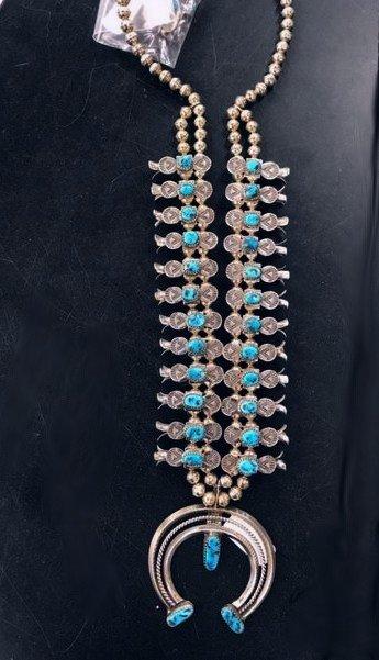 Image 6 of Navajo Doris Smallcanyon Box Bow Squash Blossom Silver Turquoise Native American