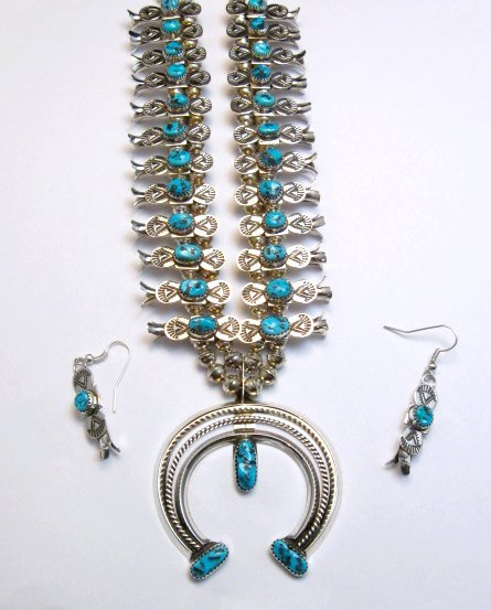 Image 1 of Navajo Doris Smallcanyon Box Bow Squash Blossom Silver Turquoise Native American