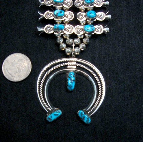 Image 2 of Navajo Doris Smallcanyon Box Bow Squash Blossom Silver Turquoise Native American