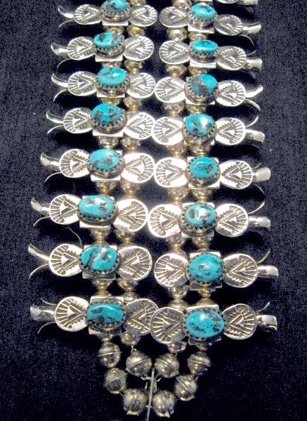 Image 5 of Navajo Doris Smallcanyon Box Bow Squash Blossom Silver Turquoise Native American