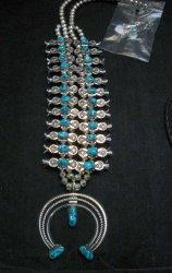 Navajo Doris Smallcanyon Box Bow Squash Blossom Silver Turquoise Native American
