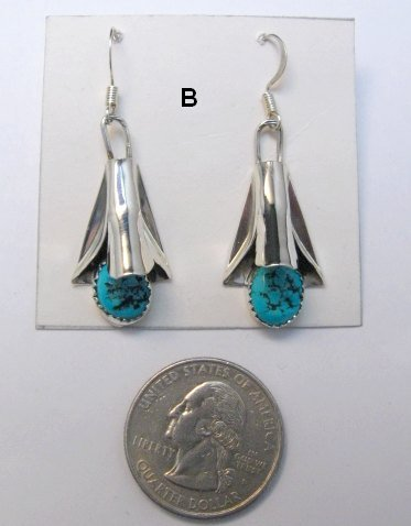 Image 2 of Native American Navajo Turquoise Squash Blossom Earrings, Louise Yazzie