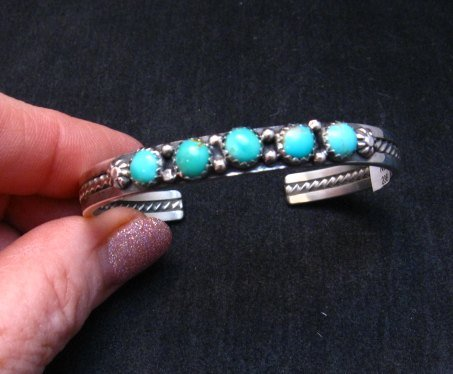 Image 0 of Navajo Sterling Silver Kingman Turquoise Stacker Cuff Bracelet, Ray King