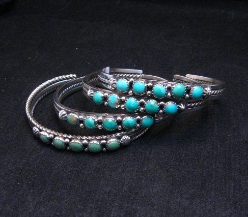 Image 2 of Navajo Sterling Silver Kingman Turquoise Stacker Cuff Bracelet, Ray King