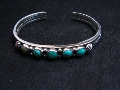 Image 1 of Navajo Native American Jewelry Silver Turquoise Stacker Cuff Bracelet, Ray King
