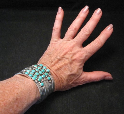 Image 3 of Navajo Native American Silver 5 Stone Turquoise Stacker Cuff Bracelet, Ray King
