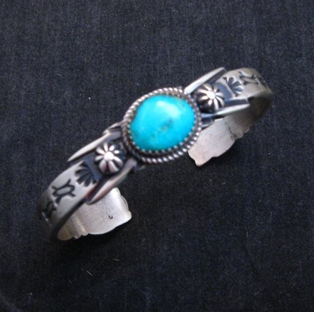 Image 0 of Navajo Handmade Old Style Sterling Silver Turquoise Bracelet Martha Cayatine