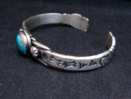 Image 1 of Navajo Handmade Old Style Sterling Silver Turquoise Bracelet Martha Cayatine
