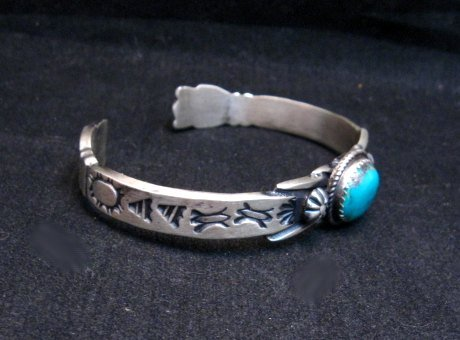 Image 2 of Navajo Handmade Old Style Sterling Silver Turquoise Bracelet Martha Cayatine