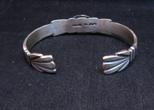 Image 3 of Navajo Handmade Old Style Sterling Silver Turquoise Bracelet Martha Cayatine