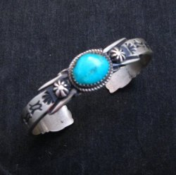 Navajo Handmade Old Style Sterling Silver Turquoise Bracelet Martha Cayatine