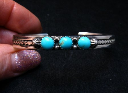 Image 0 of Navajo Native American 3 Stone Turquoise Stacker Cuff Bracelet, Ray King