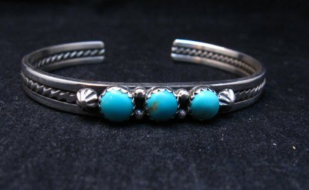 Image 1 of Navajo Native American 3 Stone Turquoise Stacker Cuff Bracelet, Ray King