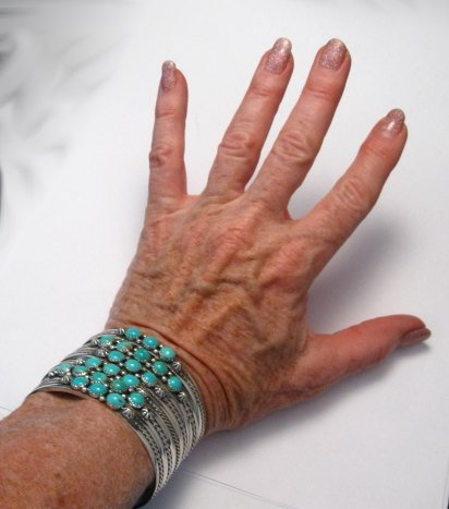 Image 3 of Navajo Native American 3 Stone Turquoise Stacker Cuff Bracelet, Ray King