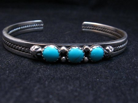 Image 1 of Narrow Navajo Native American Turquoise Stacker Cuff Bracelet, Ray King