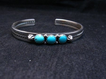 Image 1 of Navajo Native American Turquoise Row Stacker Cuff Bracelet, Ray King