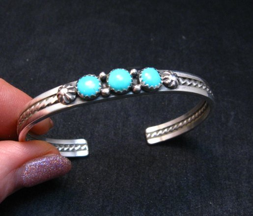 Image 0 of Navajo Native American Turquoise Stacker Cuff Bracelet, Ray King