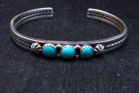 Image 1 of Navajo Native American Turquoise Stacker Cuff Bracelet, Ray King