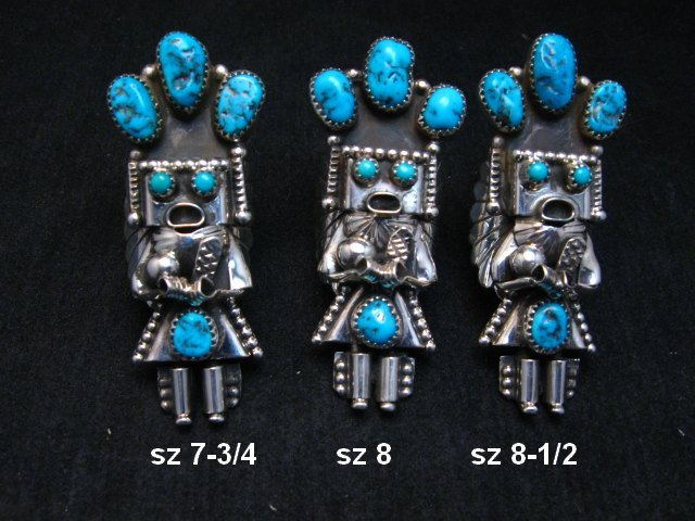 Image 0 of Navajo Turquoise Silver Kachina Ring Doris Smallcanyon sz7-3/4, 8 or 8-1/2