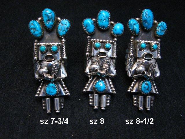 Image 0 of Navajo Turquoise Silver Kachina Ring Doris Smallcanyon sz7-3/4, 8 or 8-1/2