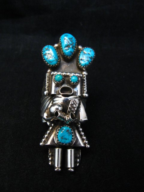 Image 1 of Navajo Turquoise Silver Kachina Ring Doris Smallcanyon sz7-3/4, 8 or 8-1/2