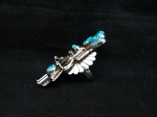 Image 2 of Navajo Turquoise Silver Kachina Ring Doris Smallcanyon sz7-3/4, 8 or 8-1/2