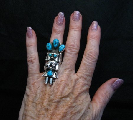 Image 3 of Navajo Turquoise Silver Kachina Ring Doris Smallcanyon sz7-3/4, 8 or 8-1/2