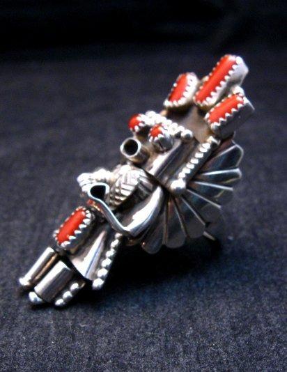 Image 1 of Navajo Coral Sterling Silver Kachina Ring, Doris Smallcanyon - sz9
