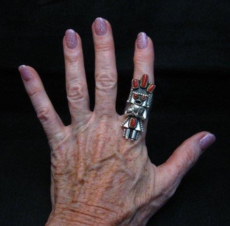 Image 2 of Navajo Coral Sterling Silver Kachina Ring, Doris Smallcanyon - sz9