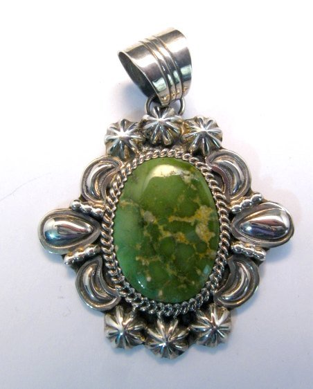 Image 0 of Green Royston Turquoise Silver Pendant, Will Denetdale, Navajo Native American