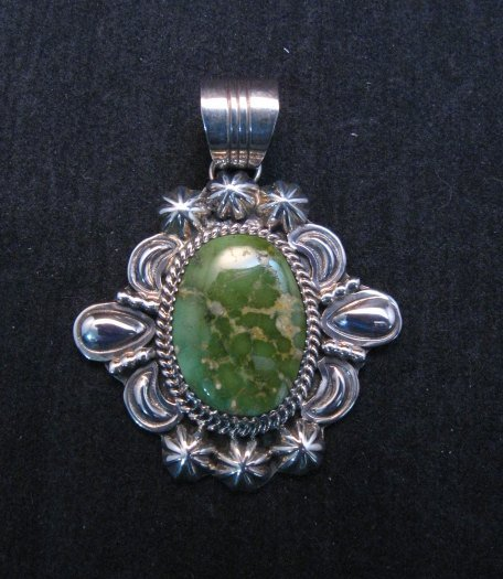 Image 1 of Green Royston Turquoise Silver Pendant, Will Denetdale, Navajo Native American