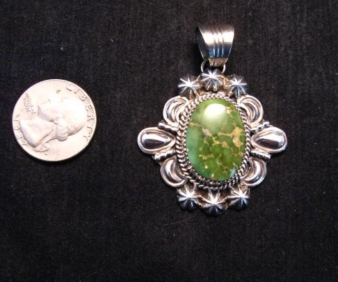 Image 3 of Green Royston Turquoise Silver Pendant, Will Denetdale, Navajo Native American