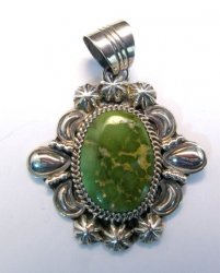 Green Royston Turquoise Silver Pendant, Will Denetdale, Navajo Native American