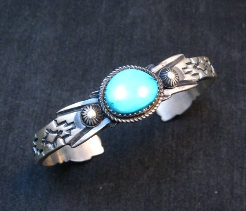 Image 0 of Navajo Old Style Sterling Silver Turquoise Bracelet Martha Cayatine
