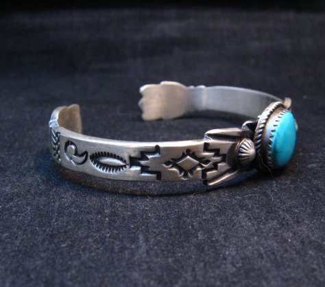 Image 1 of Navajo Old Style Sterling Silver Turquoise Bracelet Martha Cayatine
