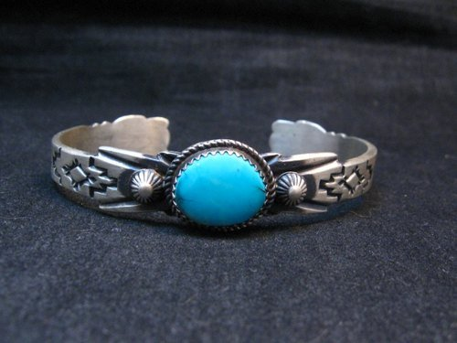 Image 2 of Navajo Old Style Sterling Silver Turquoise Bracelet Martha Cayatine