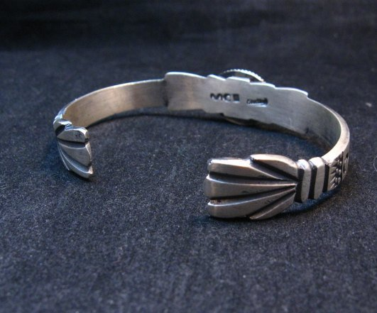 Image 3 of Navajo Old Style Sterling Silver Turquoise Bracelet Martha Cayatine