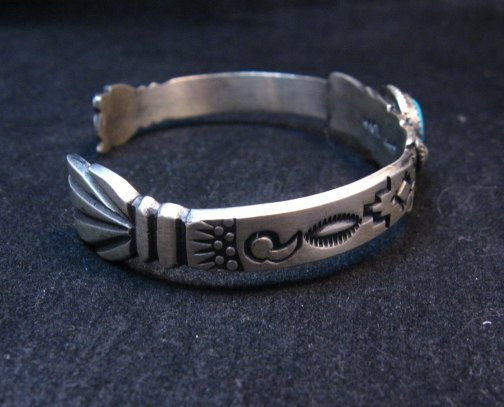 Image 4 of Navajo Old Style Sterling Silver Turquoise Bracelet Martha Cayatine