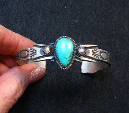 Image 0 of Navajo Native American Sterling Silver Turquoise Bracelet Martha Cayatine
