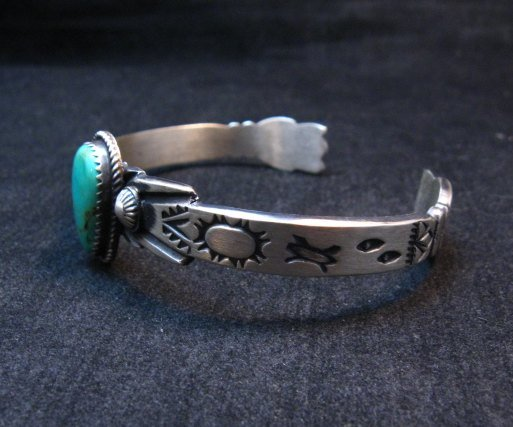 Image 1 of Navajo Native American Sterling Silver Turquoise Bracelet Martha Cayatine