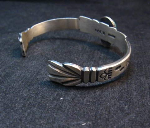 Image 2 of Navajo Native American Sterling Silver Turquoise Bracelet Martha Cayatine